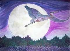 heron in the moon